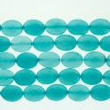 """Faceted Flat Oval Dyed Jade Light Teal 12x16mm 16"""""""