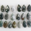 """Faceted Flat Teardrop Top Drilled Moss Agate 12x22mm 8"""""""
