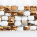 """Faceted Rectangle Two-Tone White Quartz & Gold 12x16mm 16"""""""
