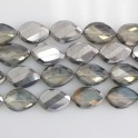 """Faceted Twist Marquise Two-Tone Pineapple Quartz & Silver 20x30mm 16"""""""