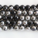 """Faceted Round Bead Two-Tone Black Agate & Silver 12mm 16"""""""