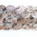 """Faceted Twist Oval Purple Flower Jade 20x30mm 16"""""""