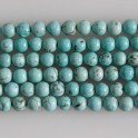 """Round Bead Stabilized Blue Turquoise 6mm 16"""""""