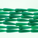 """Faceted Teardrop Dyed Jade Emeral 10x35mm 16"""""""