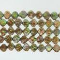 """Freshwater Pearl Biwa Lantern Forest Green 12x14mm 16"""""""