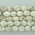 """Flat Oval Stabilized White Turquoise 18x25mm 16"""""""