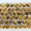"""Faceted Coin Tiger Eye 10mm 16"""""""