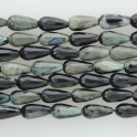 Faceted Teardrop Center Drilled Black & Teal Agate 8x16mm 16""