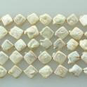 "Freshwater Pearl Biwa Diamond Champagne 10x10mm 16"""